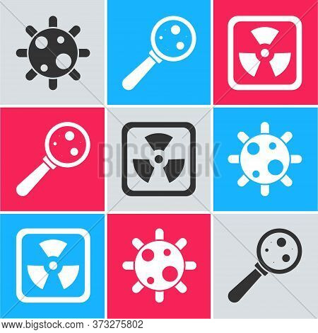 Set Bacteria, Microorganisms Under Magnifier And Radioactive Icon. Vector