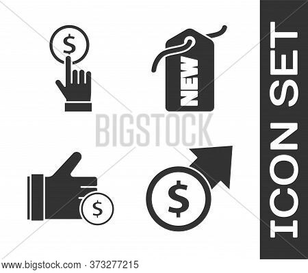 Set Financial Growth And Coin, Hand Holding Coin, Hand Holding Coin And Price Tag With New Icon. Vec