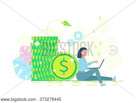 business people. Freelance, a programmer makes money. An office businessman sits near a pile of coins and works on a laptop. Credit offer, bank investment or refinancing. Business people. business people.Business background. Infographic business arrow sha