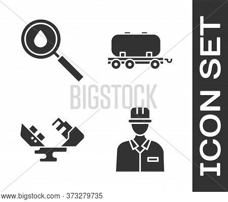 Set Oilman, Oil Drop, Wrecked Oil Tanker Ship And Oil Railway Cistern Icon. Vector
