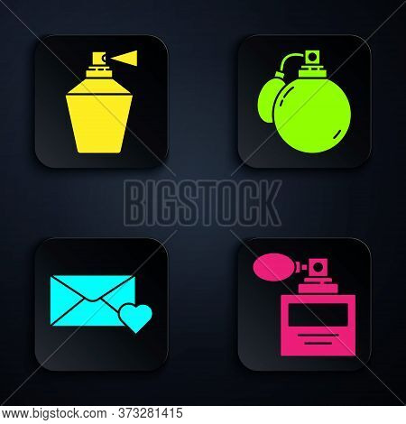 Set Perfume, Perfume, Envelope With 8 March And Perfume. Black Square Button. Vector