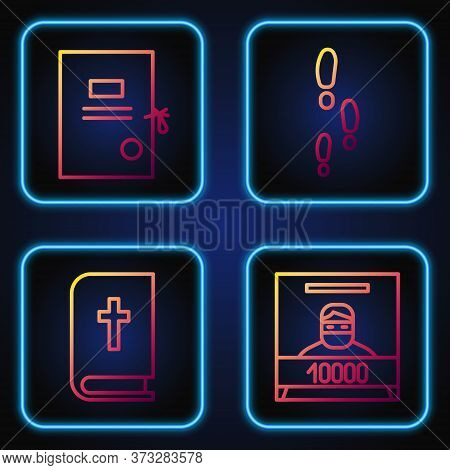 Set Line Wanted Poster, Holy Bible Book, Lawsuit Paper And Footsteps. Gradient Color Icons. Vector