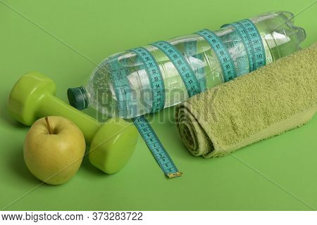 Barbells By Green Apple. Healthy Lifestyle And Low Calorie Food