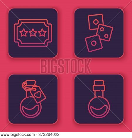 Set Line Ticket, Bottle With Love Potion, Game Dice And Bottle With Love Potion. Blue Square Button.