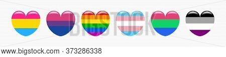 Icon Set Of Hear Shape Flags Of Pansexual, Bisexual, Gay, Transgender, Polisexual And Asexual. Vecto