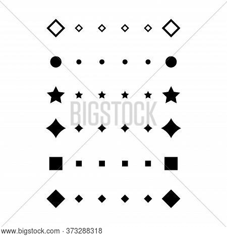 Ruler Scale Icons Set From Geometric Shapes. Symbol Measuring Scale From Different Geometric Shapes.