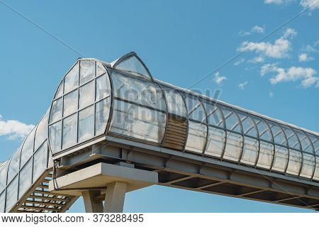 Elevated Pedestrian Crossing Over The Freeway, White Carbon Fiber, Arched Tunnel, Abstract Backgroun
