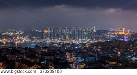 Istanbul Night View. Galata Tower And Suleymaniye Mosque At Night In Istanbul, Turkey.
