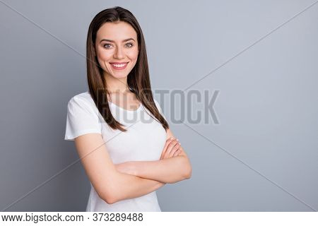 Profile Side View Portrait Of Her She Nice-looking Attractive Cute Lovely Winsome Pretty Content Che