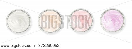 Cosmetic pot container with body, face cream. Top view, flat lay cream sample. Isolated on white.