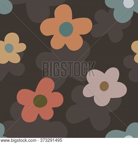 Wild Meadow Flowers Seamless Vector Pattern Background. Retro Color Large Florals On Textured Backdr