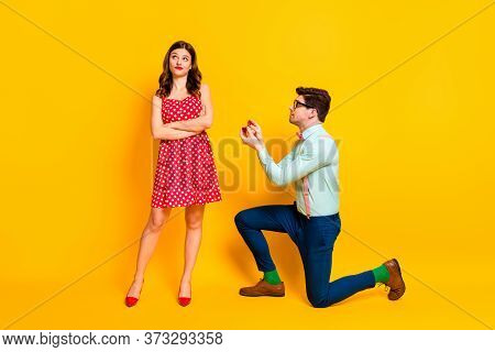 Full Length Photo Frustrated Geek Man Propose Give Ring Girl Cross Hands Indifferent Wear Red Dotted