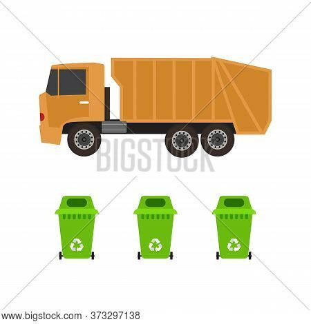 Rubbish Truck And Cans, Flat Style Vector Illustration
