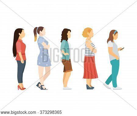 Full Length Of Cartoon Women Standing In Line Against. Flat Vector Illustration
