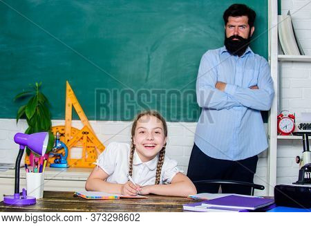 Talented Pedagogue. Work Together To Accomplish More. Man Bearded Pedagogue. Homeschooling With Fath