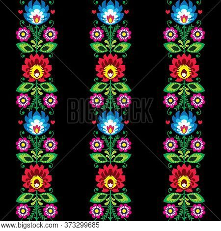 Floral Seamless Vibrant Folk Art Vector Pattern - Polish Traditional Design With Flowers - Wycinanki