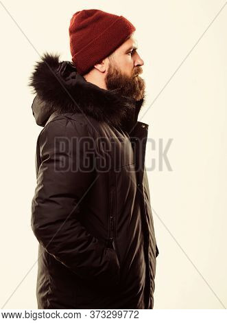 How To Choose Best Winter Jacket. Weather Resistant Jacket Concept. Winter Season Menswear. Hood Add