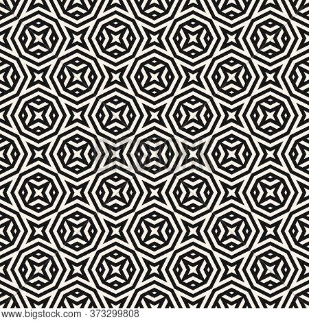 Vector Abstract Monochrome Seamless Pattern With Geometric Shapes, Stripes, Lines, Stars, Octagons.
