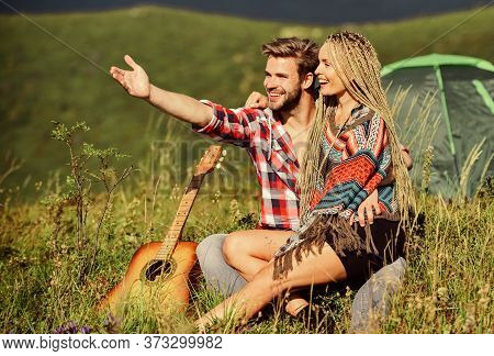 Love Concept. Camping Vacation. Camping In Mountains. Family Travel. Hiking Romance. Summer Vacation