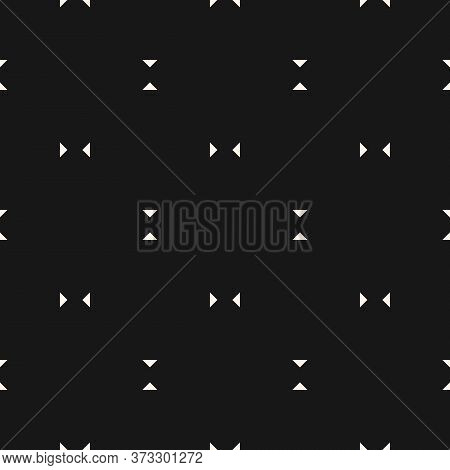 Vector Minimalist Seamless Pattern. Subtle Geometric Background With Small Triangles. Simple Black A