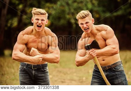 Be Strong. Men With Sexy Muscular Torsos Look Brutally. Achieving Success In Sport. Mesomorph. Twins