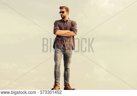 Good Looking Model. Businessman In Glasses. Confidence And Charisma. Macho Man Unshaven Face. Male F