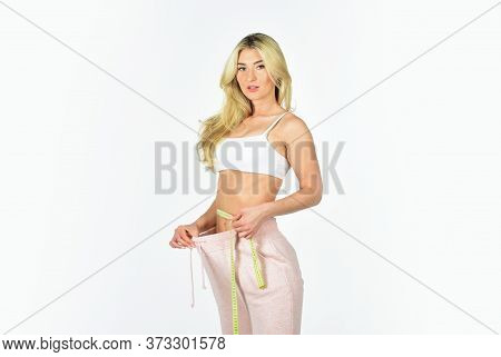 Always In Good Shape. Healthy Lifestyle. Athletic Woman Isolated On White. Girl In Sportswear Workou