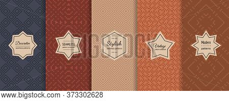 Vector Set Of Traditional еthnic Seamless Pattern. Retro Vintage Geometric Ornament Swatches With Mo