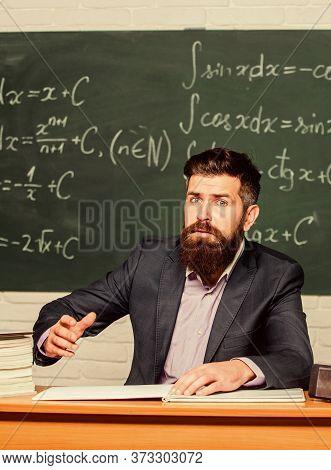 Demanding Teacher. Get Out Of Class. Teacher Strict Serious Bearded Man Chalkboard Background. Teach