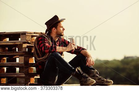 Great Story. Cowboy With Lasso Rope. Western. Man Checkered Shirt On Ranch. Western Cowboy Portrait.