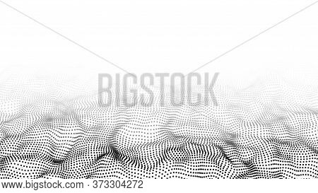 Wave 3d. Abstract Wave Dots On White Background. Big Data. Technology Background. Eps 10. Digital Dy