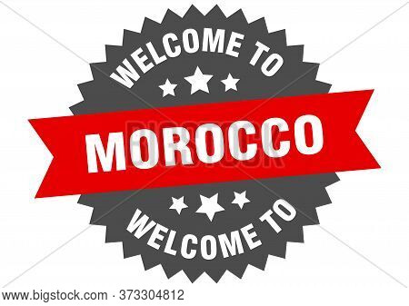 Morocco Sign. Welcome To Morocco Red Sticker