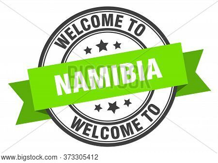 Namibia Stamp. Welcome To Namibia Green Sign