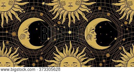 Seamless Pattern With A Golden Sun With A Face And A Crescent On A Black Background, Galaxy, Moon, S