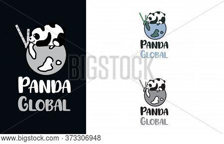 Panda Bear Silhouette Logo Design Vector Template. Funny Lazy Logo Panda Animal Logotype Concept Ico