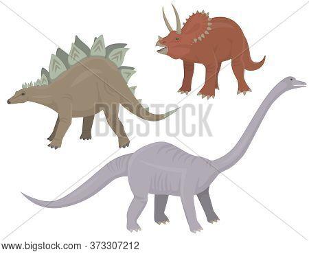 Set Of Herbivorous Dinosaurs. Stegosaurus, Triceratops And Diplodocus In Cartoon Style.