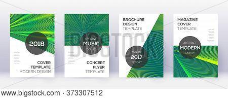 Modern Brochure Design Template Set. Green Abstract Lines On Dark Background. Awesome Brochure Desig