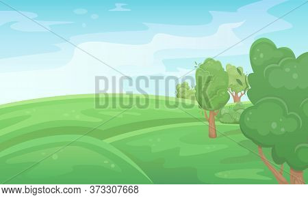 Landscape Of A Green Summer Field With Trees. Natural Landscape. Agricultural Fields. Agriculture, F