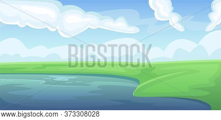 Landscape Of A Green Summer Field With A Lake. Natural Landscape. Agricultural Fields. Agriculture,