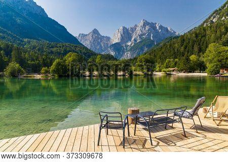 Lake and mountains near Kranjska Gora  village in Triglav national park, Slovenia