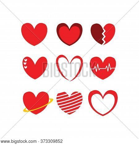 Love, Stripped Love, Heartbeat Love, Love With Ring, Line Art Love Icon Illustration Set Isolated On