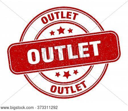 Outlet Stamp. Outlet Label. Round Grunge Sign