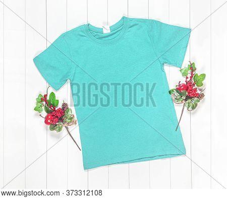 Cyan T-shirt Mockup On White Background, Adult T-shirt, Blank Shirt Photo, Stylized Display