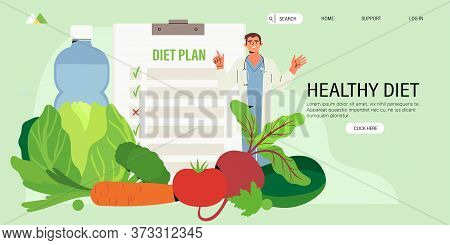 Dietitian Online Online Consultation. Concept Of Healthy Eating, Personal Diet Or Nutrition Plan Fro