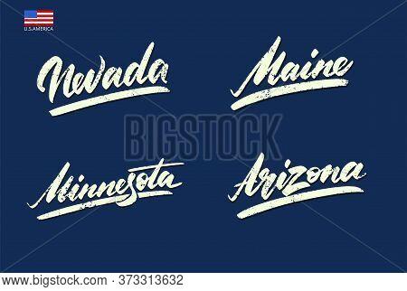 Nevada, Maine, Arizona, Minnesota Vintage Sports Lettering Vector Illustration
