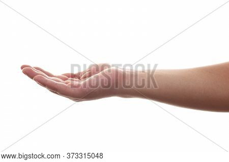 Hand Gesture Open Up Like Holding Something On Palm Isolated On White Background With Clipping Path