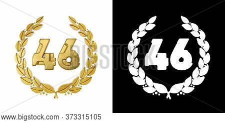 Gold Number 46 (number Forty-six) With Laurel Branch With Alpha Channel. 3d Illustration