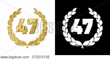 Gold Number 47 (number Forty-seven) With Laurel Branch With Alpha Channel. 3d Illustration
