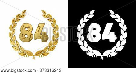 Gold Number 84 (number Eighty-four) With Laurel Branch With Alpha Channel. 3d Illustration