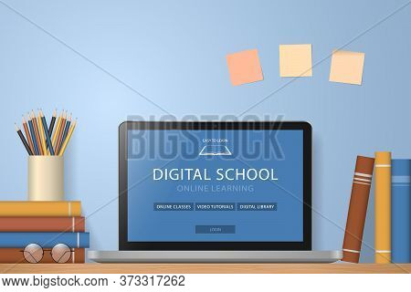 Laptop, Books And Pencils On Desk. Online Learning Website Page On Computer Screen. Distance E-learn